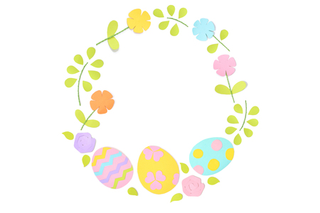 Easter circle frame paper cut on white background - isolated