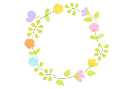 Spring circle frame paper cut on white background - isolated