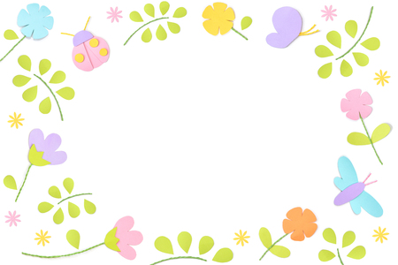 Spring round frame paper cut on white background - isolated Stock Photo