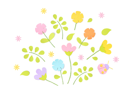 Spring paper cut on white background - isolated