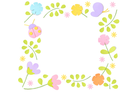 Spring square frame paper cut on white background - isolated