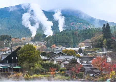Yufuin town with hot spring smoke is seen from the other side of Lake Kinrin, Yufuin, Japan