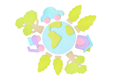 Earth day element paper cut on white background - isolated