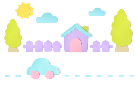 House paper cut on white background - isolated Stock Photo