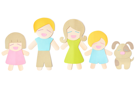 Family with pet paper cut on white background - isolated  Stock Photo