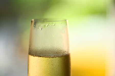 Glass of chilled sparkling wine