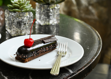 Black forest cake and succulent plant on black marble table Stock Photo