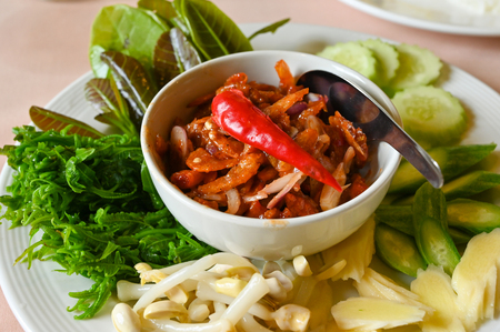 Shrimp Chili Paste with local vegetables, southern style, Thailand Stock Photo