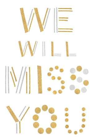 We will miss you text paper cut on white background - isolated