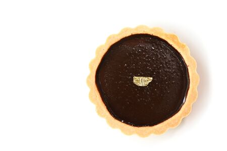 Chocolate tart on white background - isolated Фото со стока