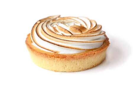 Lemon meringue tart on white background - isolated