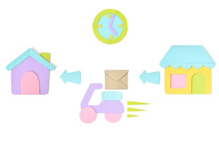 Delivery paper cut on white background - isolated