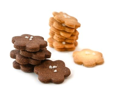 Homemade small cookies on white background - isolated