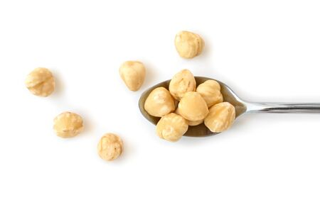 Hazelnut in a spoon on white background - isolated