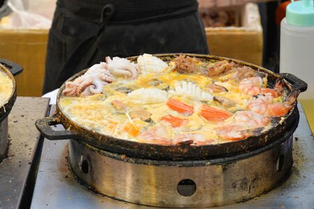 Local style pan fried seafood at weekend market, Phuket, Thailand