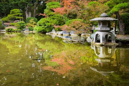Japanese garden with stone lamp 写真素材
