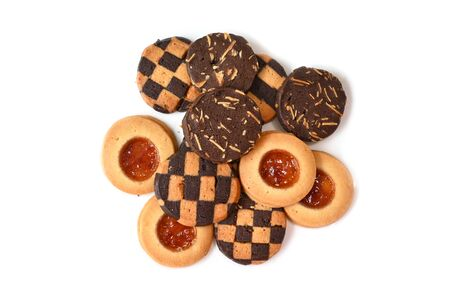 Assorted cookies on white background - isolated