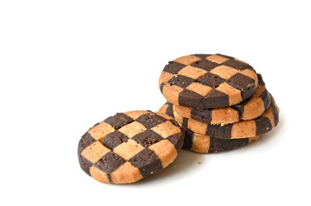 Checker Cookies on white background - isolated 写真素材