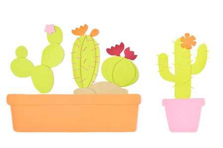 Cactus in a pot paper cut on white background - isolated 写真素材 - 131637688