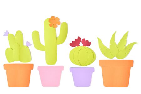Cactus in a pot paper cut on white background - isolated