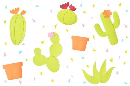 Cactus and clay pot paper cut on white background - isolated 写真素材