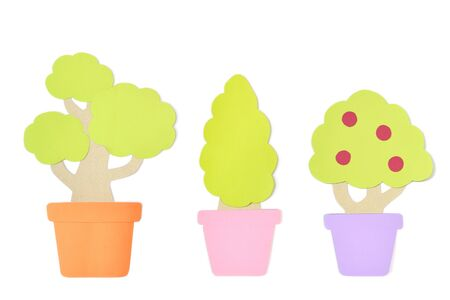 Plant in a pot paper cut on white background - isolated