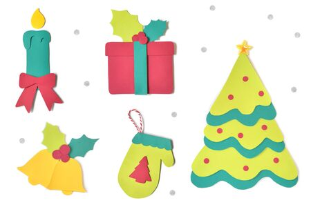 Christmas Set.Christmas Set Paper Cut On White Background Isolated