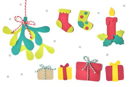 Christmas set paper cut on white background - isolated