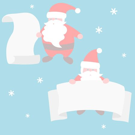 Santa Claus with scroll - Christmas set  イラスト・ベクター素材