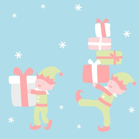 Elves holding gifts - Christmas set