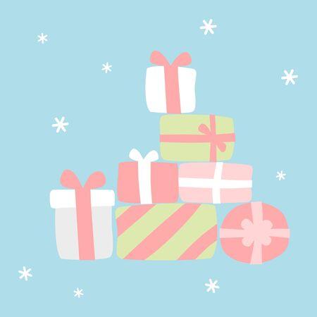 Many gifts - Christmas set  イラスト・ベクター素材