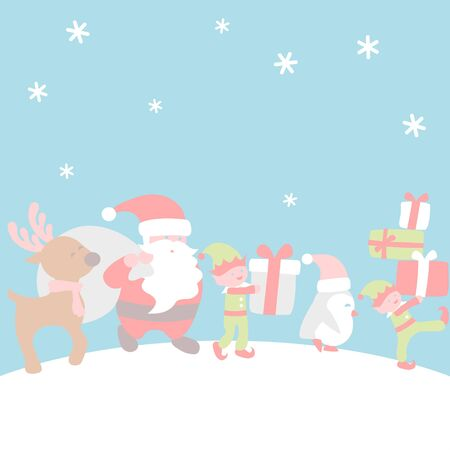 Santa and friends carrying gift - Christmas set  イラスト・ベクター素材