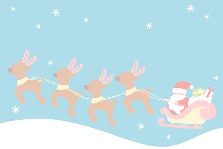 Santa claus sleigh with reindeers  - Christmas set 写真素材 - 131637754