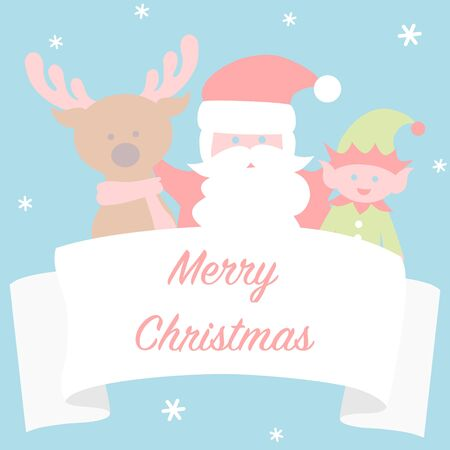 Christmas card with Santa and friends  イラスト・ベクター素材