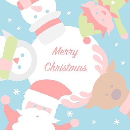 Christmas card with Santa and friends 写真素材 - 131637782