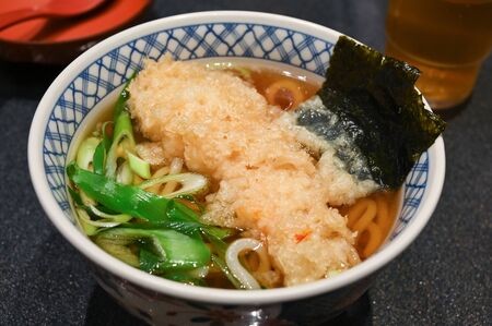 Tempura udon with soup, Japanese food