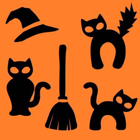 Halloween black cat icon collection 写真素材 - 131640003