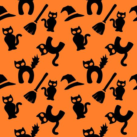 Halloween black cat wrapping paper - seamless pattern 写真素材 - 131639992