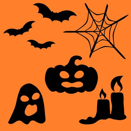 Halloween pumpkin and ghost, bat icon collection