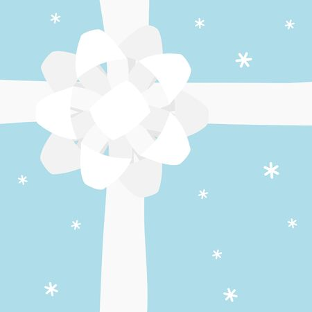 Blue gift box with white bow - top view 写真素材 - 131639994