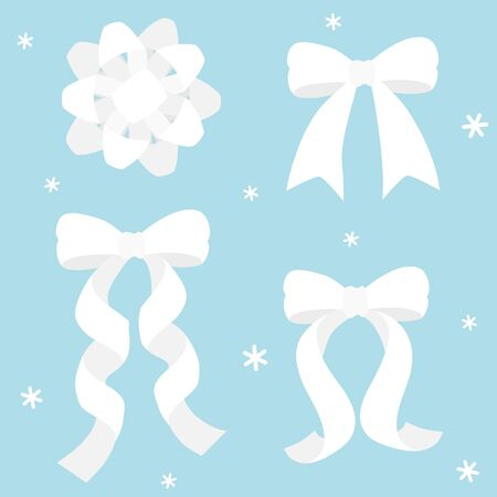 White ribbon on blue background