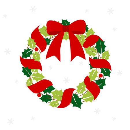 Christmas wreath with red ribbon 写真素材 - 132466234