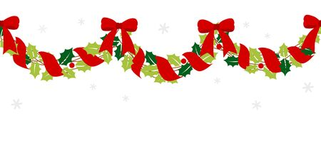 Christmas garland with red ribbon 写真素材 - 132466039