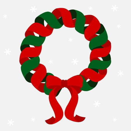 Christmas wreath with red and green ribbon 写真素材 - 132578452