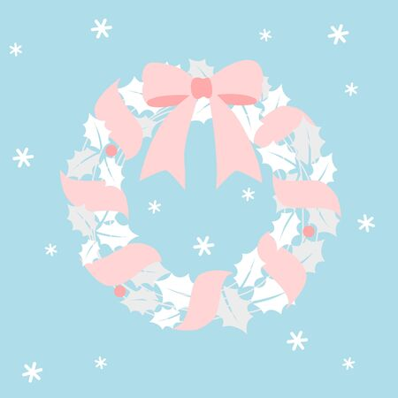 Christmas wreath with pink ribbon 写真素材 - 132589967