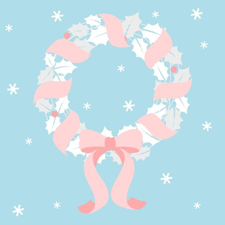 Christmas wreath with pink ribbon   イラスト・ベクター素材