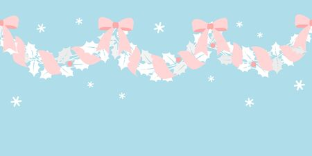 Christmas garland with pink ribbon 写真素材 - 132589979