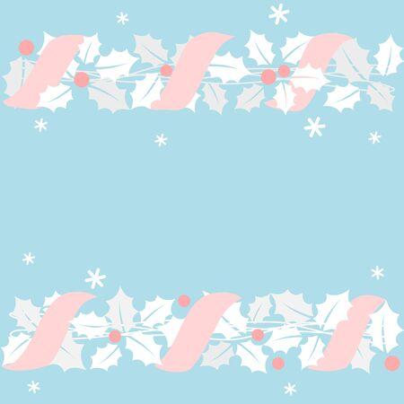 Christmas garland with pink ribbon 写真素材 - 132591081