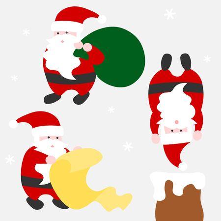 Santa Claus activities - Christmas set    イラスト・ベクター素材