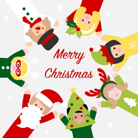 People in christmas costume - colorful